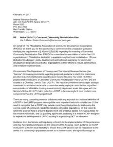 thumbnail of Notice 2016-77 Philadelphia Association of Community Development Corporations Comments